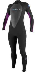 O'Neill Ladies Reactor 3/2mm Back Zip Flatlock Wetsuit BLACK / UV 3800 - 2ND