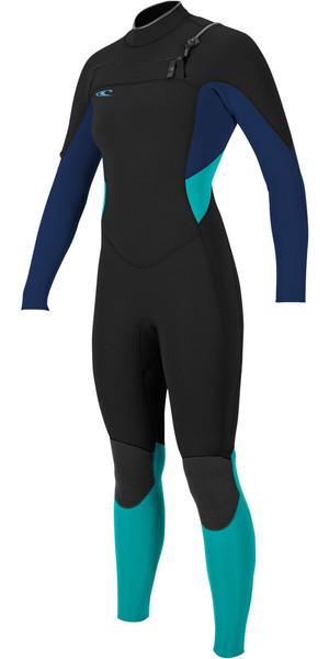2018 O'Neill Ladies Supertech 3/2mm Chest Zip GBS Wetsuit BLACK / NAVY / AQUA 4854
