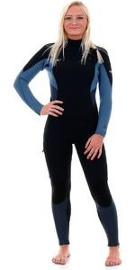 O'Neill Womens Supertech 4/3mm Chest Zip GBS Wetsuit Black / Dusty Blue / Slate 4855