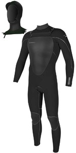 2018 O'Neill Mutant 5/4mm Hooded Chest Zip Wetsuit BLACK 4762