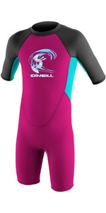 2020 O'Neill Toddler Reactor 2mm Back Zip Shorty Wetsuit BERRY / AQUA / GRAPHITE 4867G
