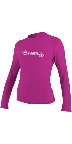 2018 O'Neill Womens Basic Skins Long Sleeve Rash Tee FOX PINK 4340