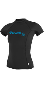 2021 O'Neill Womens Basic Skins Short Sleeve Crew Rash Vest BLACK 3548