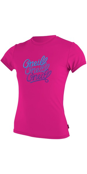 2018 O'Neill Youth Girls Short Sleeve Rash Tee BERRY 4118