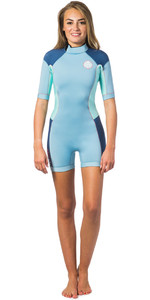 Rip Curl Womens Dawn Patrol 2mm Back Zip Spring Shorty Wetsuit BLUE ICE WSP4FW