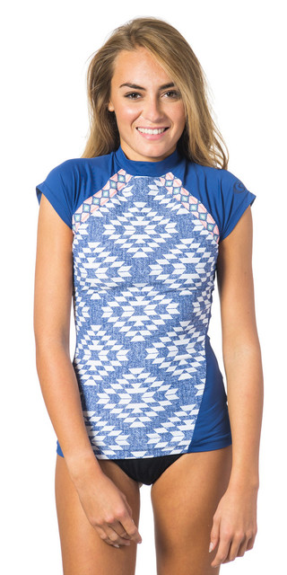Rip Curl Del Sol Short Sleeve Cs Rash Vest Blue Wlukf4 Picture
