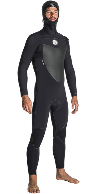 2018 Rip Curl Flashbomb 6/4mm Hooded Chest Zip Wetsuit Black Wse7of Picture