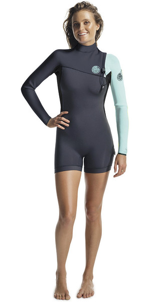 2018 Rip Curl G-Bomb Womens 2mm Long Sleeve Zip Free Shorty Wetsuit BLUE WSP6IW