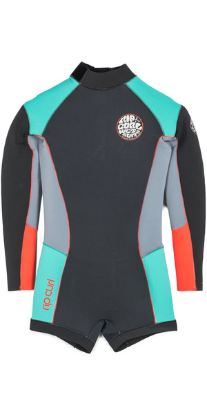 Rip Curl Girls Dawn Patrol 2mm Long Sleeve Shorty GREY WSP5BJ