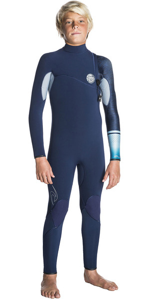 2018 Rip Curl Junior Flashbomb 4/3mm Zip Free Wetsuit NAVY WSM7MS