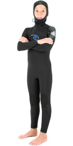 Rip Curl Junior Flashbomb 5/3mm GBS Chest Zip Hooded Steamer Wetsuit BLACK WSM6HB