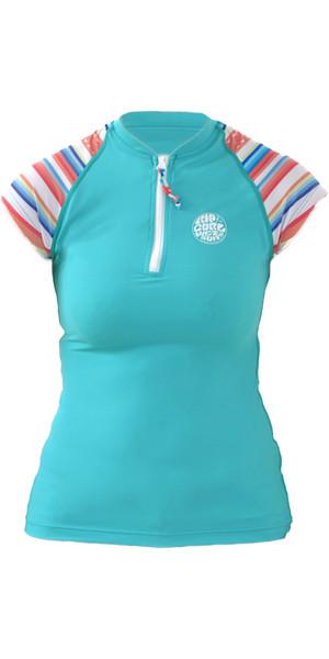 Rip Curl Ladies RCE Cap Sleeve UV Rash Vest BALTIC GREEN WLH9JW