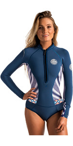 Rip Curl Womens G-Bomb 1mm Long Sleeve Hi Cut Shorty Wetsuit NAVY WSP6LW