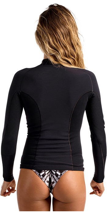 2019 Rip Curl Womens G-Bomb 1mm Long Sleeve Front Zip Neo Jacket BLACK WVE6JW