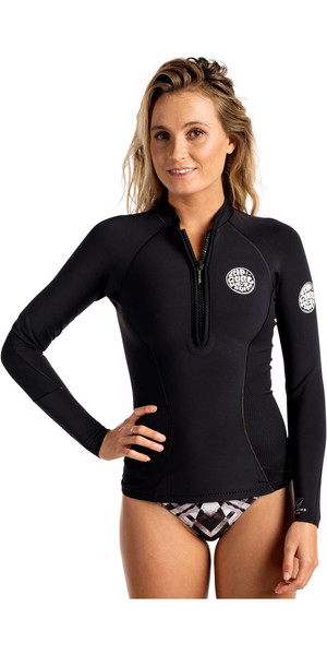 2018 Rip Curl Womens G-Bomb 1mm Long Sleeve Front Zip Neo Jacket BLACK WVE6JW
