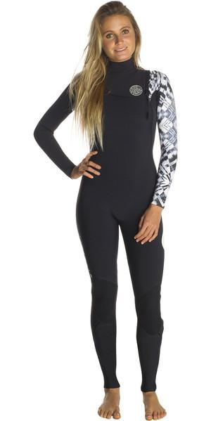 2018 Rip Curl Womens G-Bomb 3/2mm GBS Zip Free Wetsuit Black / White WSM7KG