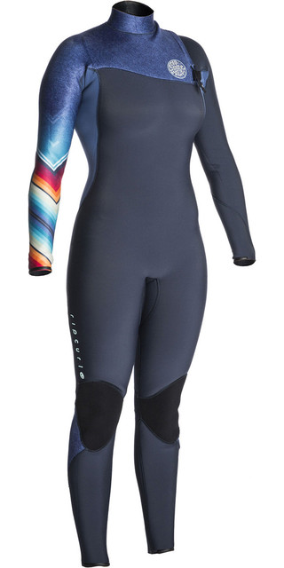 2018 Rip Curl Womens G-bomb 3/2mm Gbs Zip Free Wetsuit Denim Blue Wsm7kg Picture