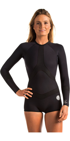 Rip Curl Ladies Madi 1mm Long Sleeve Boyleg Shorty Black WSP6DW