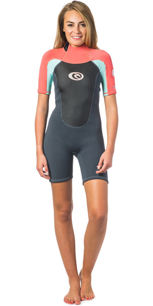 2019 Rip Curl Omega Womens 2mm Back Zip Spring Shorty CORAL WSP4CW