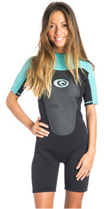 Rip Curl Omega Ladies 2mm Back Zip Spring Shorty Wetsuit BLACK / Turquoise WSP4CW