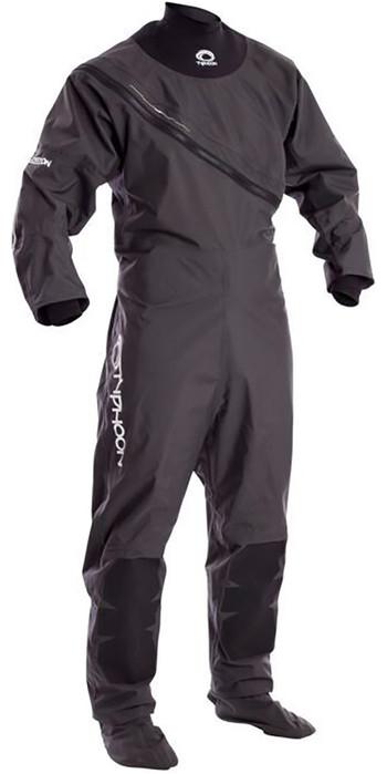 2020 Typhoon Junior Ezeedon 3 Drysuit Front Zip + Fabric Socks Grey 100158