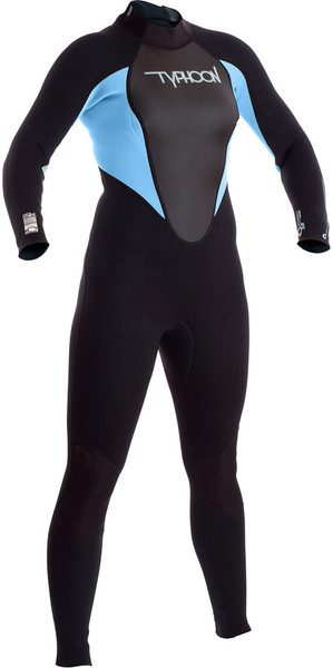 2018 Typhoon Junior Girls Storm 3/2mm Wetsuit Black / Glacier Blue 250941