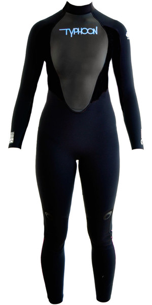 2018 Typhoon Womens Storm 5/4/3mm GBS Wetsuit Black / Blue Logo 250691