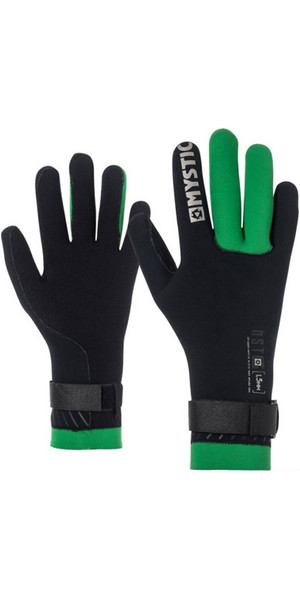 2018 Mystic Merino Wool 1.5mm GBS Neo Kitesurfing Glove Black / Green 170145
