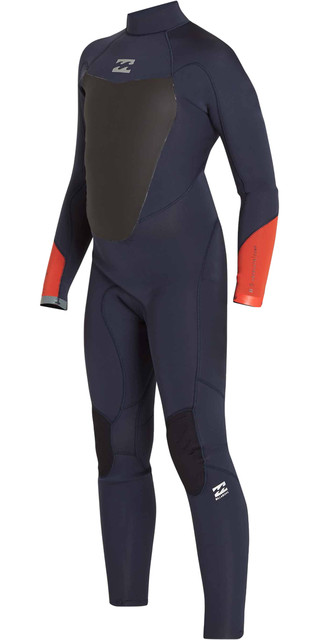 2018 Billabong Junior Absolute Comp 4/3mm Back Zip Wetsuit Slate F44b14 Picture