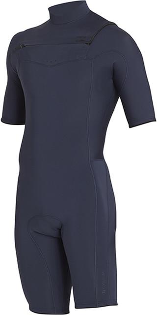 2018 Billabong Junior Revolution 2mm Chest Zip Shorty Wetsuit Slate H42b04 Picture