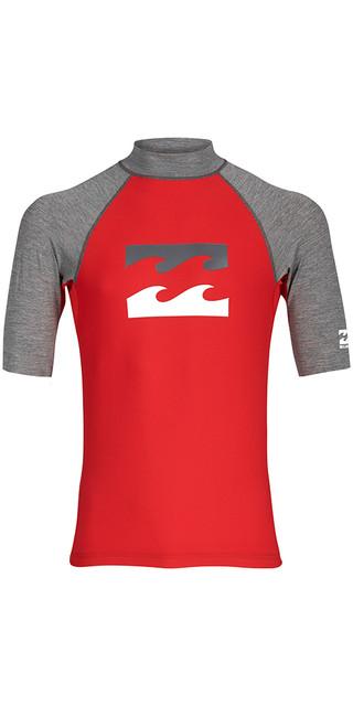 2018 Billabong Junior Team Wave Short Sleeve Rash Vest Red H4ky03 Picture