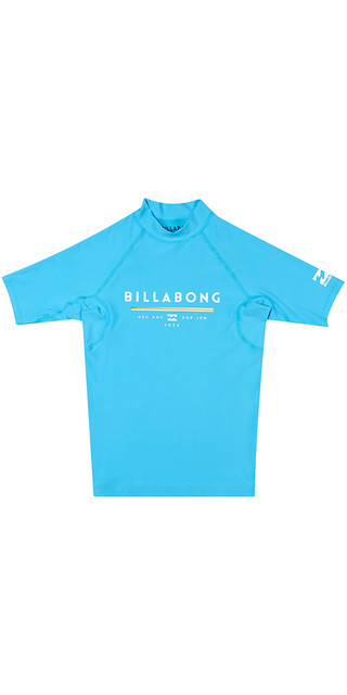 2018 Billabong Junior Unity Short Sleeve Rash Vest Ocean H4ky01 Picture