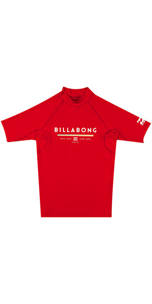 2018 Billabong Junior Unity Short Sleeve Rash Vest RED H4KY01