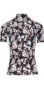 2018 Billabong Womens Flower Short Sleeve Rash Vest FEATHER BLACK H4GY03