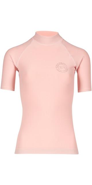 2018 Billabong Womens Logo Colour Short Sleeve Rash Vest Blush H4gy07 Picture