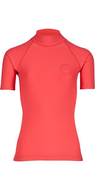 2018 Billabong Womens Logo Colour Short Sleeve Rash Vest Passion Fruit H4gy07 Picture