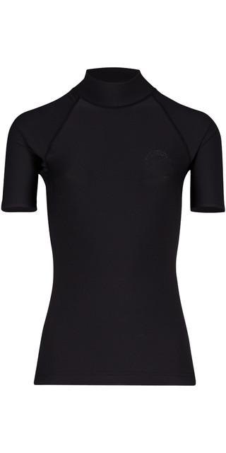 2018 Billabong Womens Logo Colour Short Sleeve Rash Vest Black Pebble H4gy07 Picture
