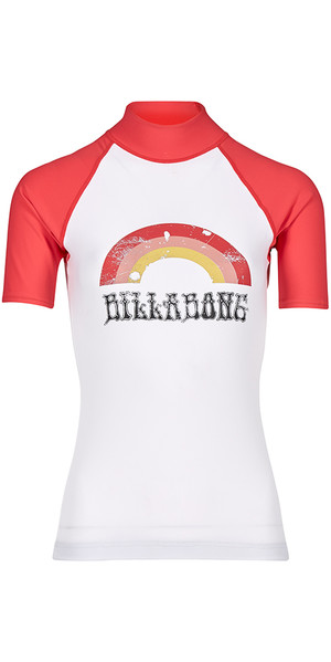 2018 Billabong Womens Logo Short Sleeve Rash Vest PASSION FRUIT H4GY01