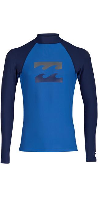 2018 Billabong Team Wave Long Sleeve Rash Vest Petrol Blue H4my04 Picture