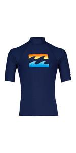 2018 Billabong Team Wave Short Sleve Rash Vest NAVY H4MY03