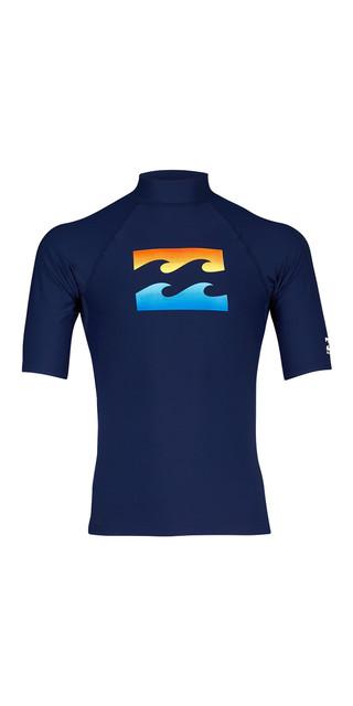 2018 Billabong Team Wave Short Sleve Rash Vest Navy H4my03 Picture