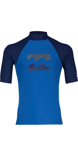 2018 Billabong Team Wave Short Sleve Rash Vest Petrol Blue H4my03 Picture