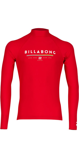 2018 Billabong Unity Long Sleeve Rash Vest Red H4my02 Picture