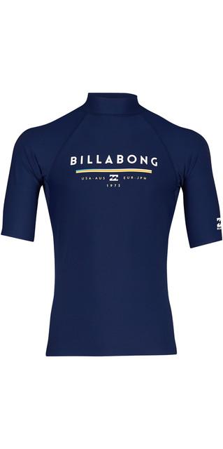 2018 Billabong Unity Short Sleeve Rash Vest Navy H4my01 Picture