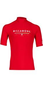 2018 Billabong Unity Short Sleeve Rash Vest RED H4MY01
