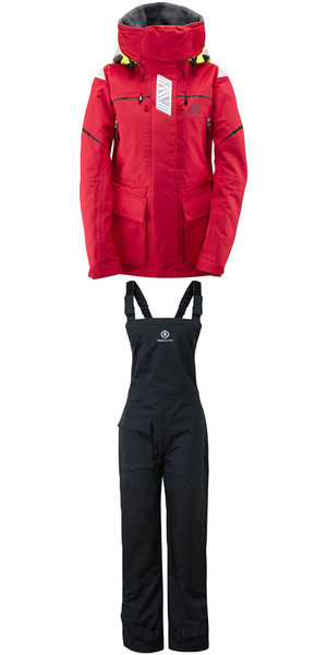 2018 Henri Lloyd Womens Freedom Offshore Jacket Y00352 & Trouser Y10161 Combi Set Red / Black