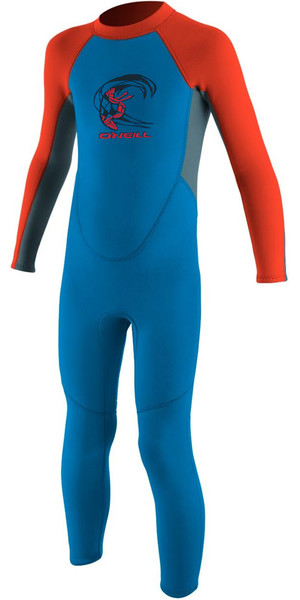 2018 O'Neill Toddler Reactor 2mm Back Zip Wetsuit BLUE / NEON RED 4868