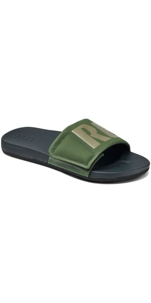 2018 Reef Mens Cushion Bounce Slide Flip Flops Olive / Grey RF0A3OL5OGL