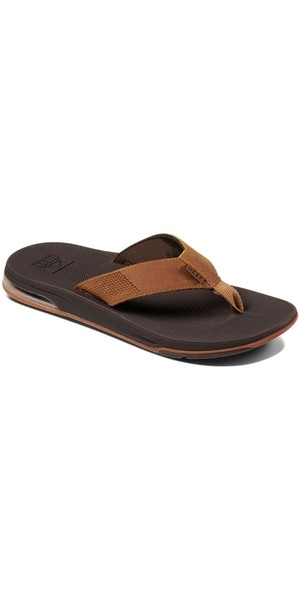 2018 Reef Mens Leather Fanning Low Flip Flops Brown RF0A3KIHORG