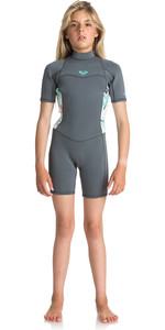 2018 Roxy Junior Girls Syncro Series 2mm Flatlock Shorty Wetsuit ASH / PISTACCIO ERGW503004